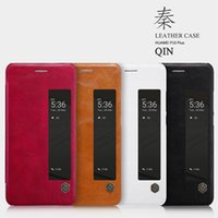 Wholesale Original Nillkin Case - Original Nillkin Ultra Thin Qin PU Leather Flip phone Case cover for Huawei P10 Plus with retail package