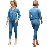 vaqueros macacao al por mayor-Hot Casual 2 piezas Conjuntos Jeans Jumpsuit Mujeres manga larga Turndown Collar Skinny Denim Bodysuits con bolsillos Macacao Feminino Longo