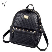 Weave Fashion School Zipper Madam Sacs à dos Outdoor Soft Handle Appliques Package Daily Female Black Newly Summer Quality Wholesale Bag