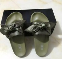 Wholesale Leather Sandals For Ladies - Leadcat Fenty Rihanna Shoes slippers for women With Original Box Dust bag 2017 Fashion ladies summer bowtie Slide Sandals flip flops