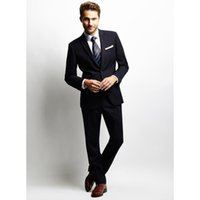 ingrosso miscela in lana di tuxedo nero-Custom Made Wool Blended Black 2Pcs Occasioni formali Abiti uomo Custom Made Smoking dello sposo Smoking Suit (Jacket + Pants) W306