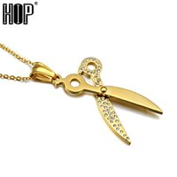 Wholesale punk scissors resale online - HIP Punk Gold Color Pave Rhinestone Titanium Stainless Steel Steampunk Scissors Pendants Necklaces for Men Jewelry