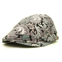 Wholesale Cap Sublimation - Wholesale-2016 fashion artist painter Paisley style cotton beret caps hat with sublimation printing for adult women men unisex adjustable