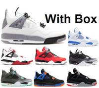 brillantes zapatos verdes al por mayor-Venta al por mayor de cemento blanco 4s rojo fuego 4 verde brillo Oreo MIAR TORO BRAVO ARRIBA con la caja de zapatos de baloncesto de mejor calidad