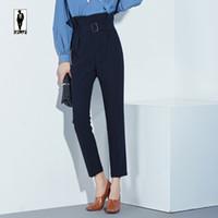 Wholesale Wide Belt Trend - UR 06 blue Trend Custom Simple Fashion Belt Vintage Office Loose Women Pants Trousers Zipper High Waist Pocket OL Career Capris Work Wear