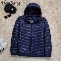 Wholesale 8xl Outdoor Jackets - Wholesale- 6XL 7XL 8XL Plus Men Ultralight Down Jacket With a Hood Outdoors Winter Parka With Carry Bag