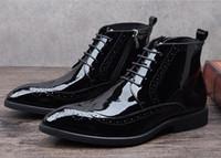 Wholesale Vintage Mens Boots - black patent leather boots men pointed toe lace up black UK vintage fashion business mens dress boots shoes male