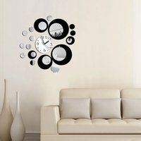 Wholesale Wall Decals Circles - Wholesale- Modern Circles Acrylic Mirror Style Wall Clock Removable Decal Art Sticker Decor