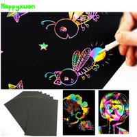 Happyxuan 10 листов / pack DIY Magic Black Scraping Drawing Card Красочный без запаха нетоксичный Creative Scratch art Toys
