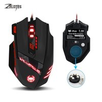 Wholesale Gaming Set - Zelotes T90 USB Wired Computer mouse Optical Game Mause 9200DPI 8 Buttons Weight Tuning Set LED Gaming Mice for Laptop PC Gamer