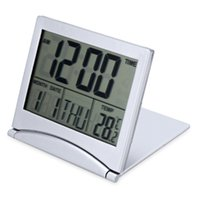 led sıcaklık saati toptan satış-LED Çalar Saat Katlanır Dijital LCD Seyahat Sıcaklık Takvim Erteleme Fonksiyonu Için CR2505 Piller esnek kapak tasarımı