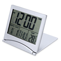 Wholesale Travelling Digital Clock - LED Alarm Clock Folding Digital LCD For Travel Temperature Calendar Snooze Function CR2505 Batteries flexible cover design
