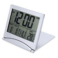 ingrosso orologi da viaggio-LED Alarm Clock LCD digitale pieghevole per il calendario della temperatura di viaggio Funzione snooze Batterie CR2505 design flessibile
