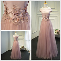 Wholesale New Bateau Neck Tulle A Line Prom Dresses Satin D Lace Applique Beaded Floor Length Formal Party Evening Dresses