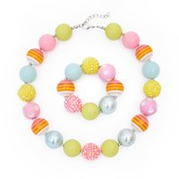 Wholesale plastic beaded necklaces resale online - Toddler or Girls Rainbow colorful candy pastel Chunky beaded necklace and bracelet set