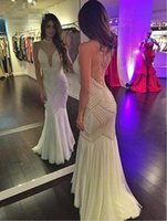Wholesale Dresses Chiffon Empire - Women Evening Dress Vestido Branco Longo 2017 White Mermaid Long Prom Dresses with Pearls Floor Length Formal Party Gowns