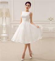 Wholesale cheap fast wedding dresses - Cheap In Stock Short Country Wedding Dresses 2018 New Elegant White A Line Sleeveless Sexy Backless Boho Beach Bridal Gowns Fast Shipping