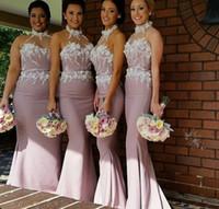 Wholesale Long Bridesmaid Dress Flower Halter - 2016 New Arrival Elegant 3D-Floral Appliques Bridesmaid Dresses Halter Illusion Neck Sleeveless Floor Length Chiffon with Belt Prom Dresses