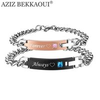 Vente en gros - Drop Shipping Toujours Forever Matching Couple Bracelets avec AAA CZ Stone Stainless Steel Bracelets For Women Men Bricolage Bijoux