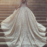 Wholesale New Arrival Glamorous - Said Mhmad Glamorous Wedding Dress Sheer Jewel Neck Applique Long Sleeves Lace Wedding Gowns 2017 New Arrival Amazing Sexy Bridal Dresses