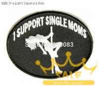 Wholesale Motorcyle Jackets - I support single moms Biker Vest Jacket Patch MC Motorcyle Embroidered Emblem punk rockabilly applique iron on badge