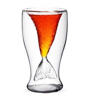 çift katmanlı cam kupa toptan satış-Çift Katmanlar Cam Kupa Kristal Mermaid Fincan Votka İçme Bar Parti Malzemeleri Temizle Şeffaf Bardaklar