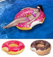 2017 Summer Water Toy 48 inch Gigantone Donut Swimming Float Inflável Natação Anel Adulto Piscina flutua 2 cores (morango e chocolate)