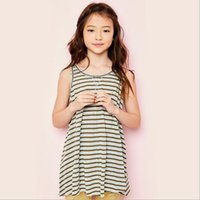 Wholesale Juniors Tees - Teenager Striped T-shirts Junior Fashion Casual Tees Big Baby Girls Summer Jumper tops 2017 childrens clothing