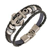 bracelets tissés achat en gros de-En gros Bijoux De Mode ancre Alliage En Cuir Bracelet Hommes Casual personnalité PU Tissé Perlé Bracelet Vintage Punk Bracelet Femmes B0452