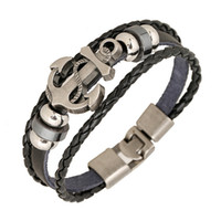 Wholesale Wholesale Leather Bracelet Sets - Wholesale Fashion Jewelry anchor Alloy Leather Bracelet Men Casual personality PU Woven Beaded Bracelet Vintage Punk Bracelet Women B0452