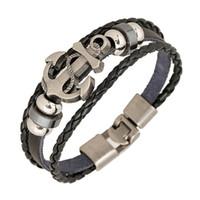 mode armbänder anker großhandel-Großhandel Modeschmuck Anker Legierung Leder Armband Männer Casual Persönlichkeit PU Woven Perlen Armband Vintage Punk Armband Frauen B0452
