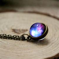Wholesale Purple Planet - 12pcs lot Nebula necklace Planet jewelry Blue purple yellow pink galaxy jewelry Solar system necklace Glass dome necklace