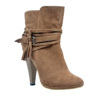 Wholesale spool toes online - Kolnoo Womens Fashion Handmade Thick Heel Tassel Deco Party Office Ankle Booties Court Shoes Brown XD127