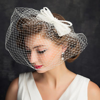 Wholesale Lace Headpieces For Brides - Free Shipping Simple Design 15 cm Cheap Headpieces For Brides Bow Face Covered Fascinators Fashion Bridal Accessories For Photoshoot