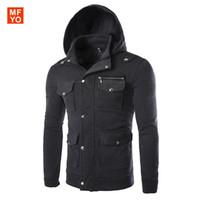 Wholesale Korean Frocks - Wholesale- 2016 Men's suits Hoodie hooded cotton pure Korean Multi Pocket slim frock Coat long sleeved pants suit male boom