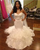 Wholesale Amazing Wedding Dress Sweetheart Tulle - Amazing Lace Mermaid Wedding Dresses Vestidos 2017 Custom Sweep Train Beading Sash Tiered Tulle Bridal Party Dress Zipper Back Sweetheart