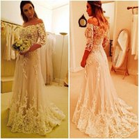 Wholesale wedding gowns online china - Vintage Lace A-Line Wedding Dresses With Sleeves 2017 Handmade Bridal Gowns Shop Online China White Applique Beads Tulle Bateau Sweep Train