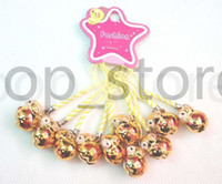 Wholesale cell phone lucky charm for sale - Group buy Lucky sheep Bright gold and dark gold cartoon Cell Phone Charm Strap JINGLE BELL Dangle Figures