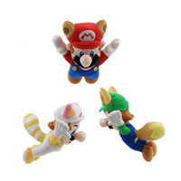 "Wholesale Luigi Fire Toys - New Hot 3 Styles 8"" Super Mario Bros Plush Doll Kitsune Fox Luigi Raccoon Tanooki Mario Racoon Fire Mario Dolls Soft Stuffed Toys"