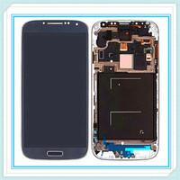 quadro de tela i545 venda por atacado-Original display lcd com frame para samsung galaxy s4 siv i9500 9505 i545 i337 lcd touch screen vidro digitador assembléia azul branco