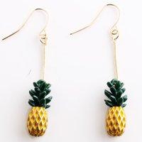 Wholesale Crystal Fruit Plate - Summer Hot Style Pineapple Shape Stud Earrings Golden Pineapple Fruit Long Eardrop Ear Acc Wholesale Drop Shopping