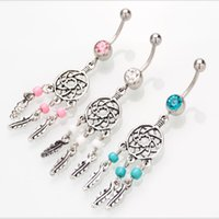Wholesale Sexy Sporty Girls - The New stainless steel tennis turquoise Pendant Dream Catcher Navel ring belly Button Ring Sexy Body piercing jewelry Navel