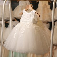 Vente En Gros À Bas Prix Pas Cher-2017 Vente en gros Princess Ball Gown Flower Girl Robes Short Summer Appliqued Tulle Enfants Party Wedding Robes formelles Wear Cheap MC1048