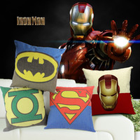 Wholesale Green Lantern Casing - Super Hero Captain America Superman Iron Man Batman Green Lantern The Flash Cushion Cover Pillow Case Linen Cotton Cushions Pillows Covers
