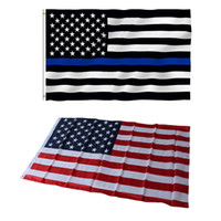 Wholesale Police Flags - 90*150cm US Flags Blue Line USA Police Flags 3x5 Foot Thin Red Line Black White And Blue American Flag with Brass Grommets