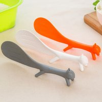Wholesale Ladle Stand - Hot Sales ! Lovely Squirrel Standing Rice Ladle Vegetable Salad Stirrer Nonstick Meal Scoop Plastic Eco-friendly Kitchen Gadgets