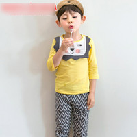 Wholesale Kid Girl Chevron Outfits - Korean Children Outfits Boys Clothing 2017 New Boy Cartoon Lion Shirt Tops + chevron Wave Pants Trousers Fashion Kids Clothes Sets A6405