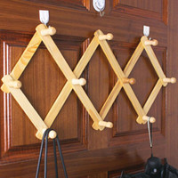 Wholesale Key Holders For Wall - Vintage Wooden Adjustable Wood Wall Hanger 10 Hooks Storage Rack Key Towel Holder Organizer For Clothes Coat Home Decor ZA3153