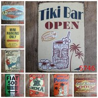 Wholesale Tiki Bar Open Signs - 20*30cm Tourism Theme Retro Metal Tin Signs Tiki Bar Open Iron Painting Welcome To Paradise Tin Poster For Shop Hotel Free Shipping 4rjd