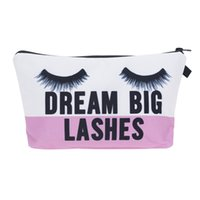 Wholesale Big Pouch - 2017 Fashion Women Makeup Bag Wallet Dream Big Lashes Cosmetics Bag Travel Bag neceser mochila bolsa feminina Handbag organizer Makeup Pouch